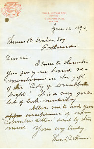 Letter from Theo. L. DeVinne to Mosher