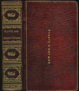 An 1823 hymnal once the property of an earlier Portland resident, Edward Toppan Little