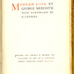 "The English Reprint Series (1891-1904) - Meredith's ""Modern Love."" Title page."