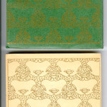 "Ideal Series of Little Masterpieces (1906-1909) - From the regular green and the Japan velum wrappers. The designs are from a binding pictured in Anstruther's ""The Bindings of Tomorrow -- A Record of the Work of the Guild of Women-Binders and the Hampstead Bindery"" (London, 1902, entry #6). Covers."