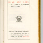 "Ideal Series of Little Masterpieces (1906-1909) - D. G. Rossetti's ""Hand and Soul."" Title page."