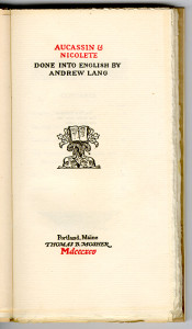 """Old World Series (1895-1909) - Andrew Lang, trans. """"Aucassin & Nicolete."""" Title page."""