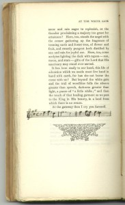 "Musical notation at end of ""At the White Gate"", Page [124]."