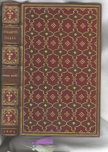 "Unattributed full leather binding of ""Uncollected Essays"" by Walter Pater."