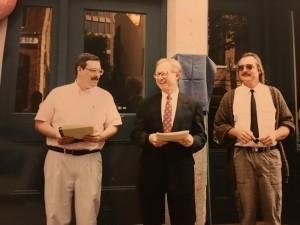 Unveiling of The Mosher Books Plaque (l-r: Philip Bishop, David Rego, and David Turner)